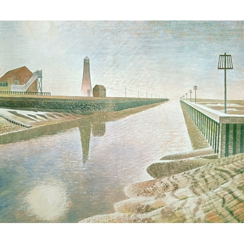 Eric William Ravilious RYE HARBOUR.  Eric Ravilious was an English painter, designer, book illustrator and wood engraver. He grew up in Sussex, and is particularly known for his watercolours of the South Downs.