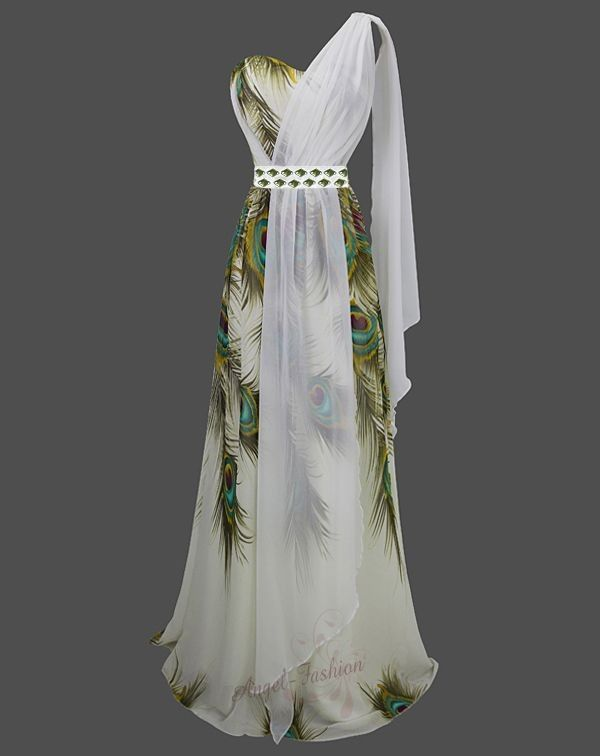 Printed Peacock Beaded One Shoulder Contrast Shawl Maxi Dresses S M L XL 18 Gree