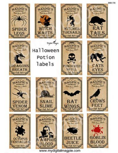 Halloween potion labels apothecary