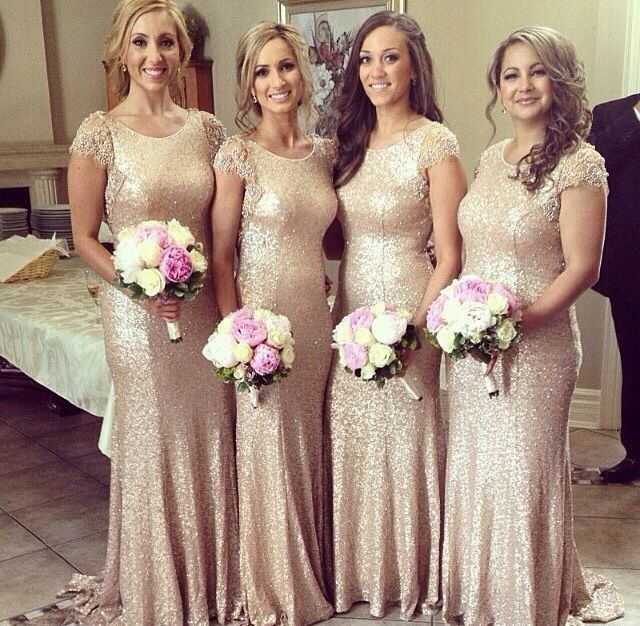 Short Sleeve 2016 Gold Sequins Bridesmaid Dresses Scoop Collar Court Train  Beaded Sequins Long Formal Prom Gowns Evening Wear Dre… 9cf638b0d548