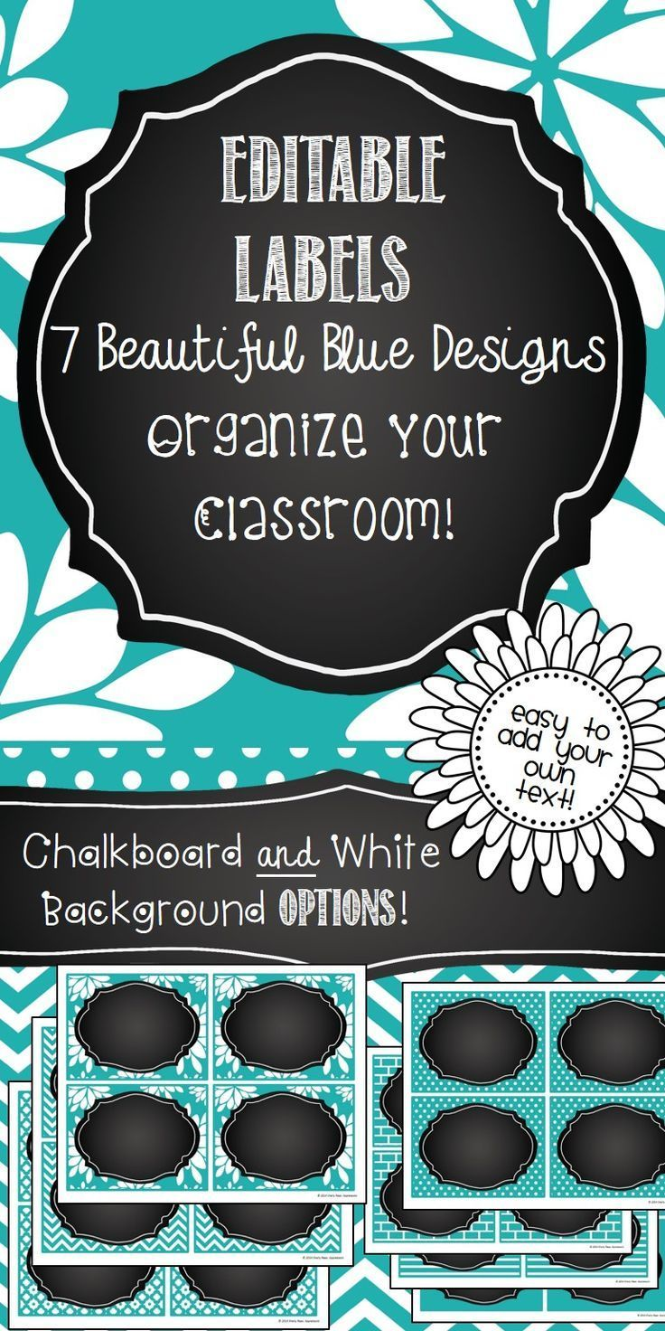 Editable Labels in a 7 beautiful blue designs! Perfect for classroom organization, bin labels, shelf labels, locker tags, name tags, etc.! With both chalkboard and white frames. So pretty!