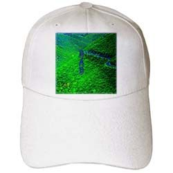 The word Dad vertically on a green pasture with a winding road Cap