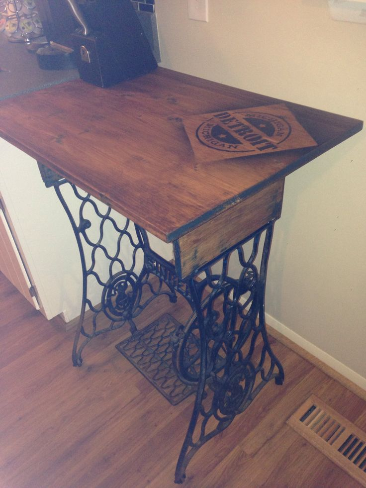 Singer Legs Turned Prep Table With Wine Gl Storage Underneath And Some Detroit Pride