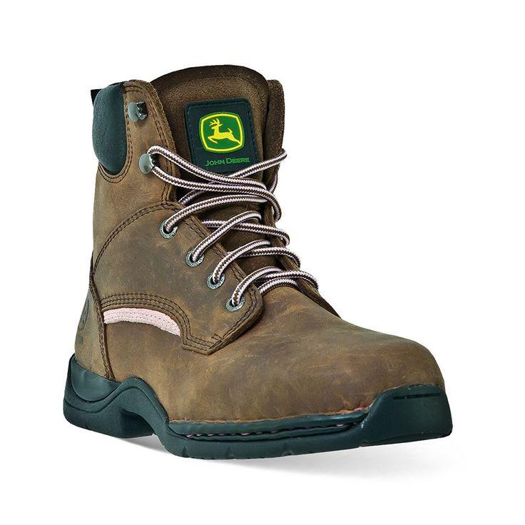 John Deere Women's Steel-Toe Hiking Boots, Size: medium (6.5), Brown