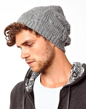 Image 2 of ASOS Cable Oversized Beanie In Gray.