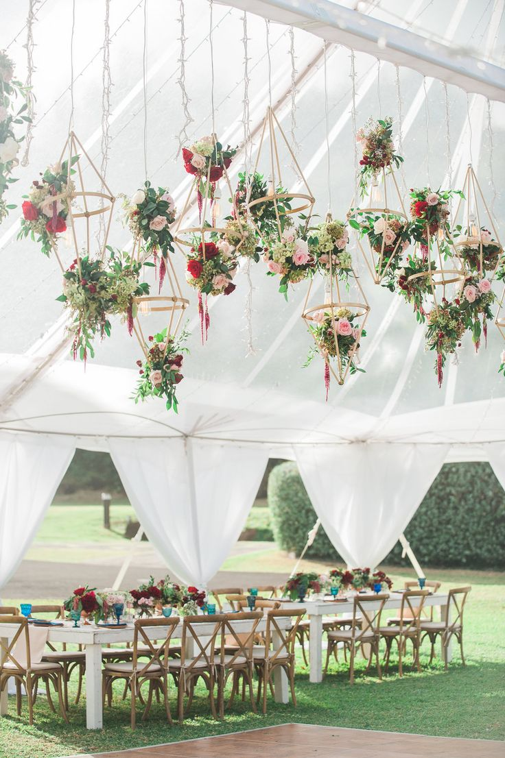 Hanging Geometric Floral Fixtures for This Hawaii Reception   Wedding by Moana Events