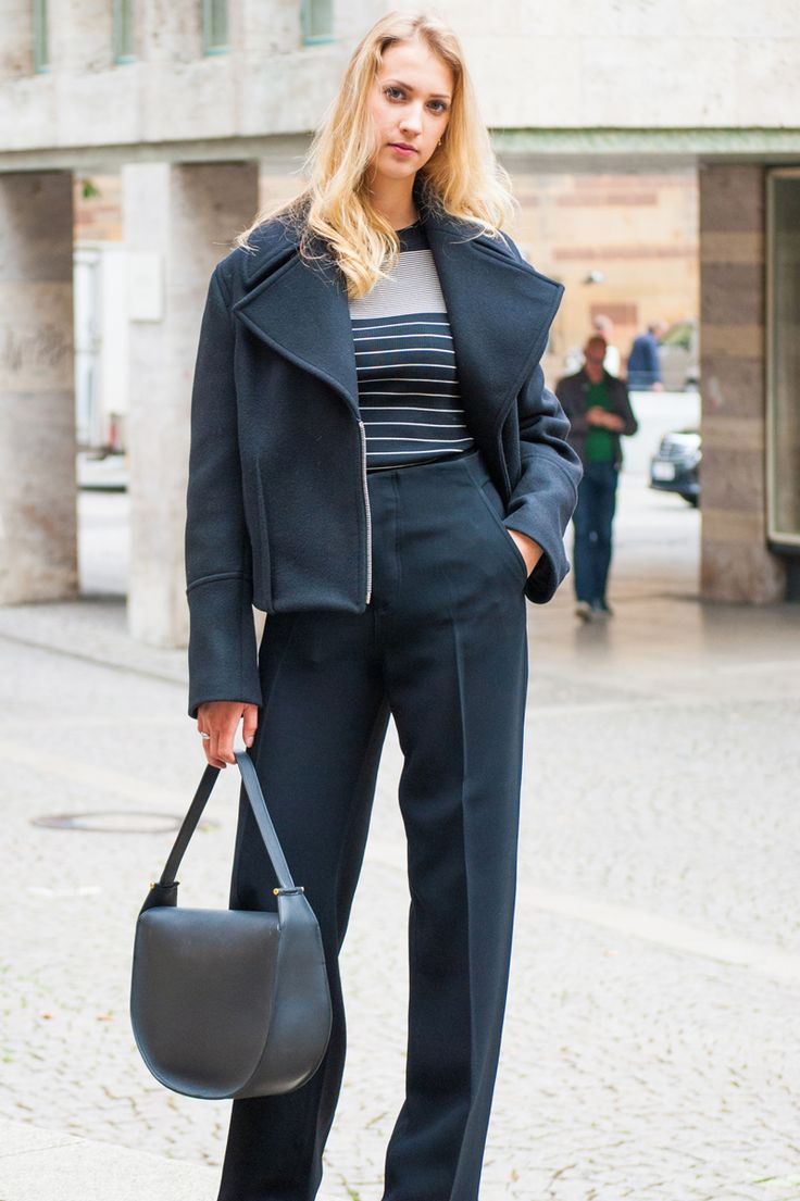 BACK IN BLACK #AcneStudios #Jacket #Toteme #look #Céline #bag #black #womenswear