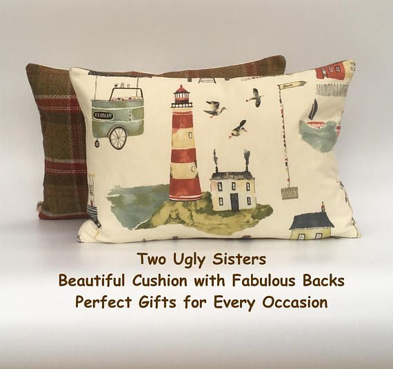 Seaside Cushion Tartan Cushion Lighthouse Pillow Red and Green