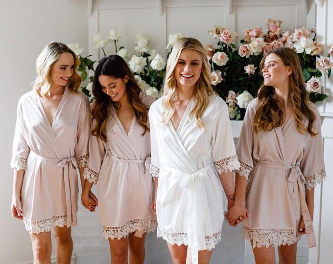 40e771a2f7 SALE Silky Lace Robe Bridesmaid Robes Bride Robe