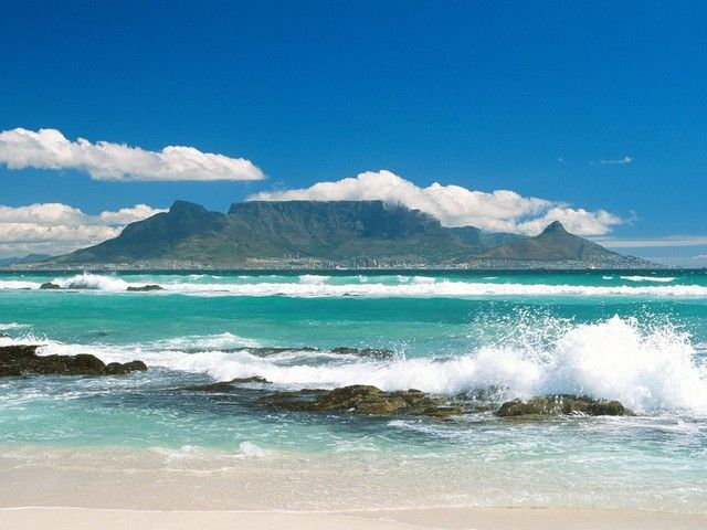 View of Table Mountain, South Africa from Blouberg Strand