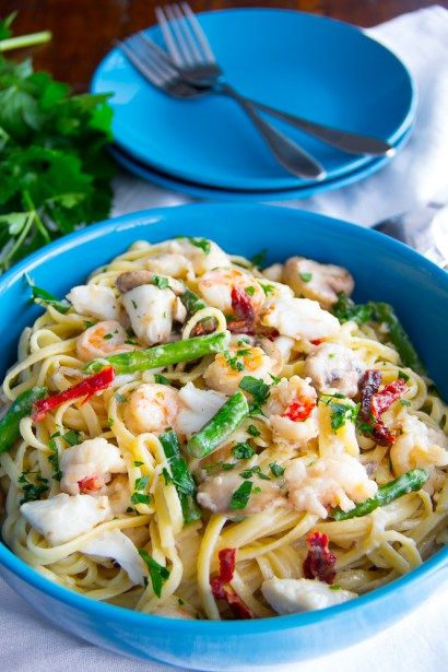 I could eat this every day. Overboard Seafood Linguine Alfredo | Say Grace