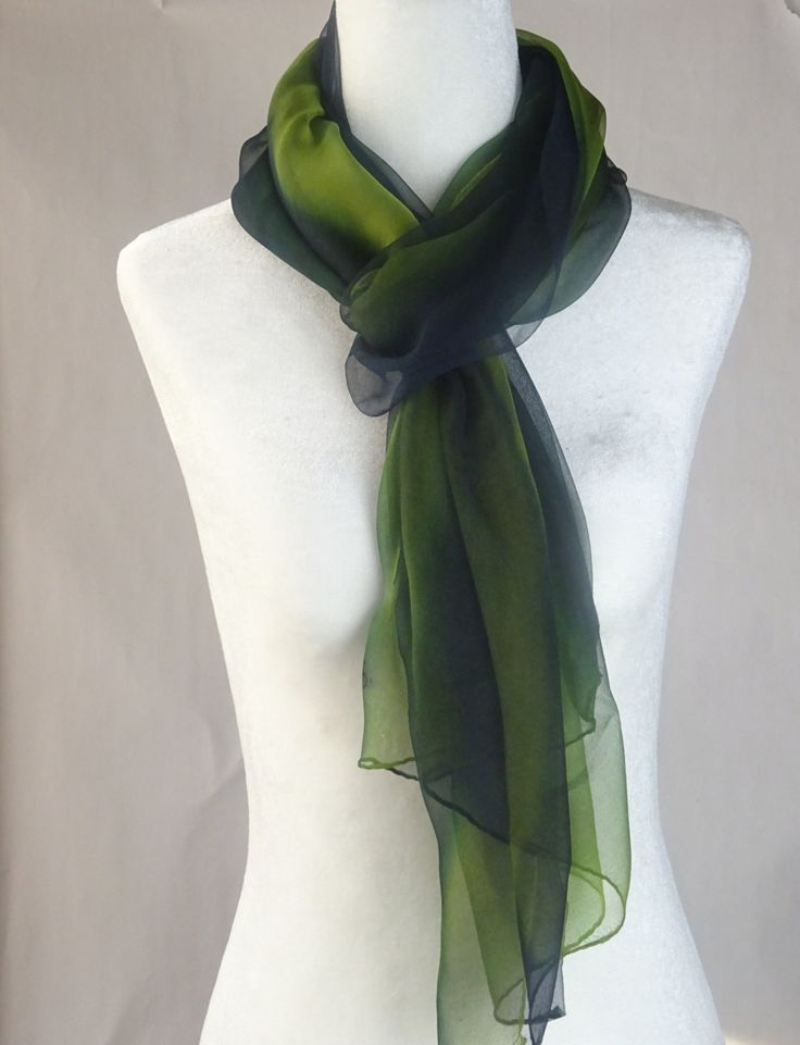 "SALE. Painted Silk Scarf, Handmade, chiffon lime and royal blue. ""Streak"". Approx  21 X 74 inches by SeesaSilk on Etsy"