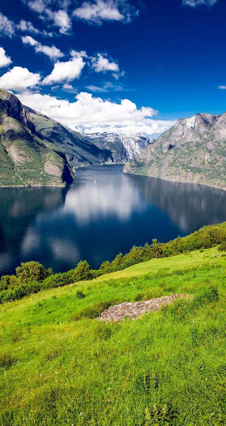 View to Aurlandsfjord a branch of Sognefjord from Stegastein viewpoint, Norway   The most beautiful European Destinations in Spring