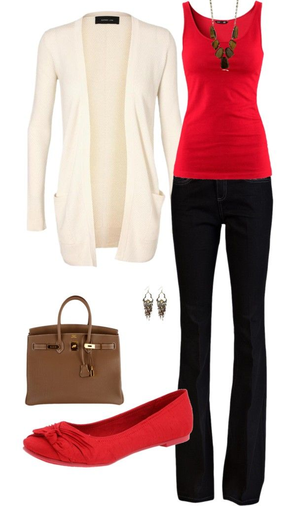 """fall"" business casual outfit. Red tanktop black pants ivory cardigan brown bag red flats"