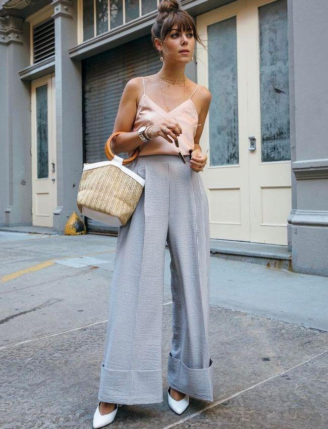 Pantalon ultra large + délicat caraco + chignon haut = le bon mix (photo Jenny Cipoletti)