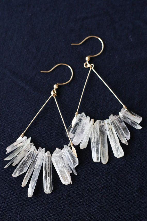 Kunzite crystal earrings Semiprecious stone by moemiSugimura