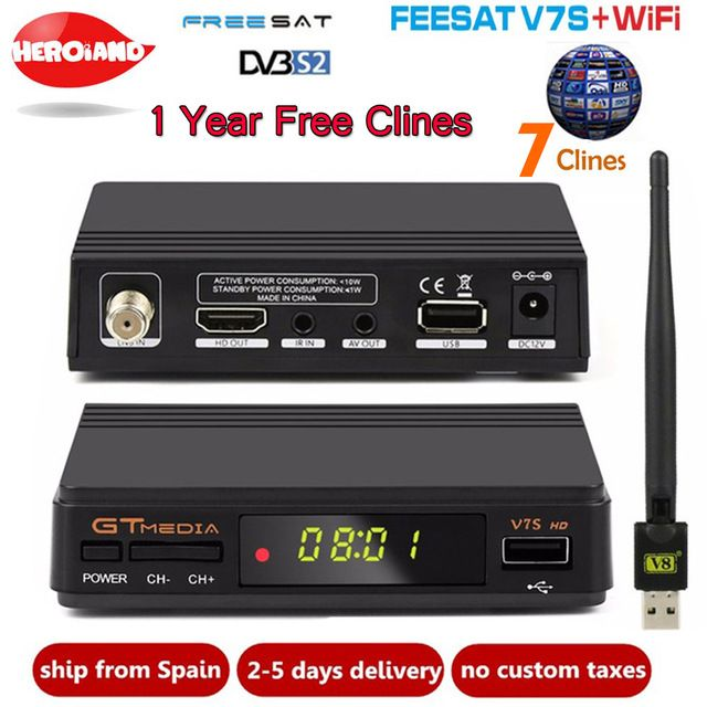 Freesat Gtmedia V7s Hd Satellite Receiver Usb Wifi Cline 1 Year Europe Spain Clines Upgrade From V7 Hd Dvb S2 Digital Rece Satellite Receiver Satellites Wifi