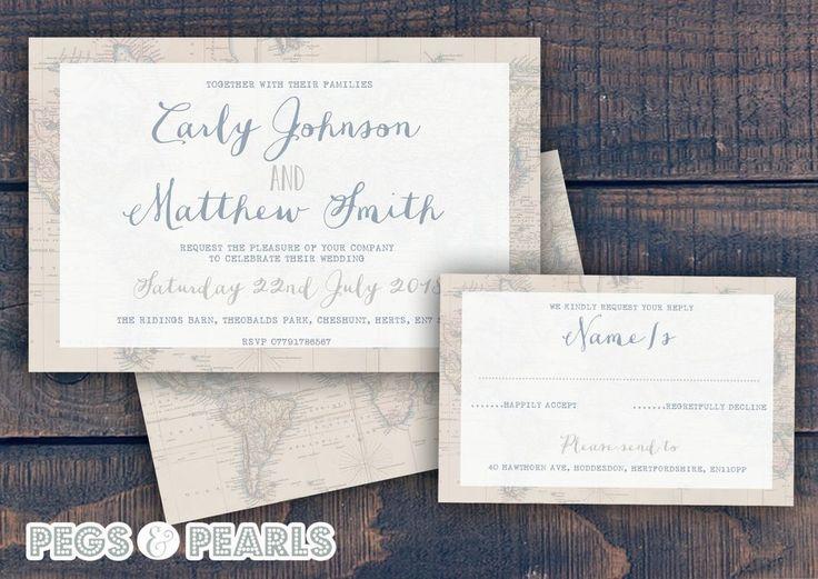 Personalised Vintage Map Travel Wedding Invitations Packs Of 10