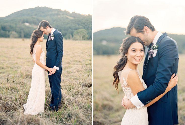 Wedding Inspiration, delicate lace wedding dress, bouquet, flowers, olive leaf, organic, burgundy, fine art wedding, french, bride. Photography: Byron Loves Fawn Dress: George Wu