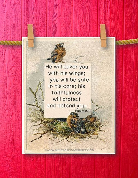 Psalm 91 4 Christian Gift For Women Bible Verse Wall Art