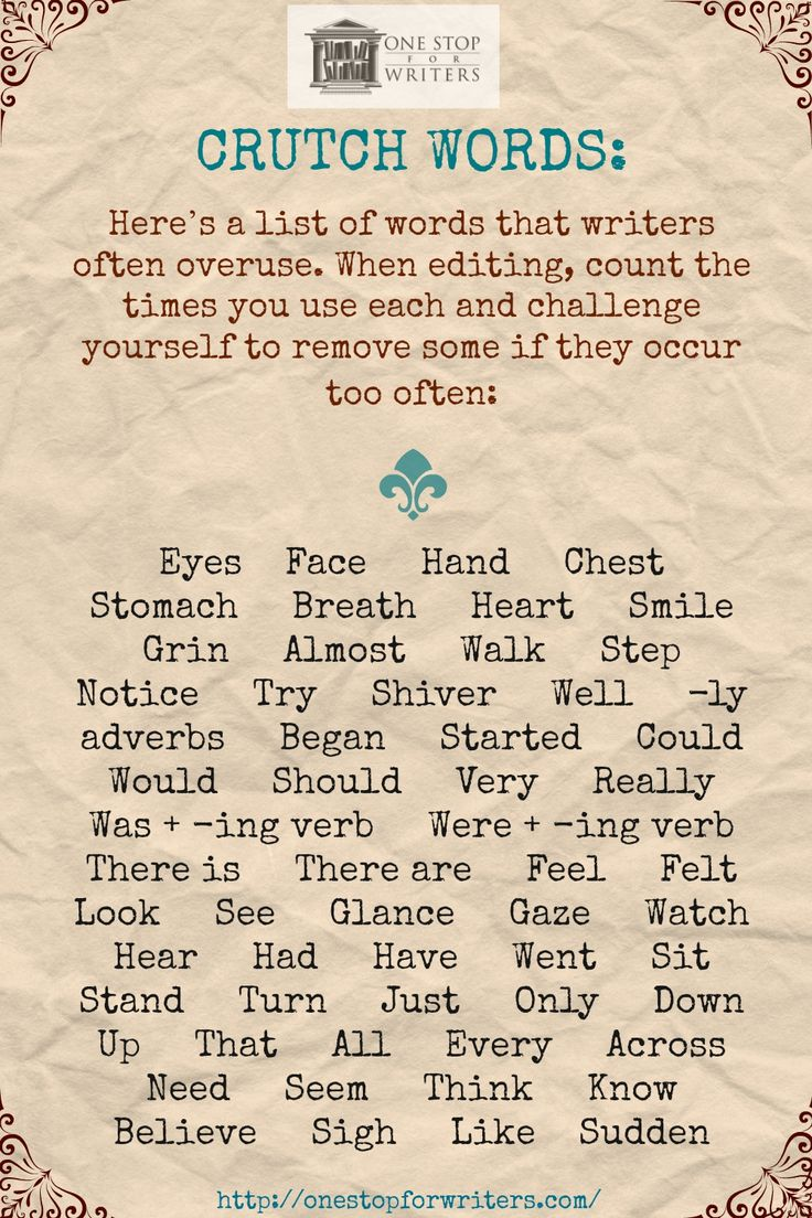 Overused Words in Writing: Cut these from your manuscript!                                                                                                                                                                                 More