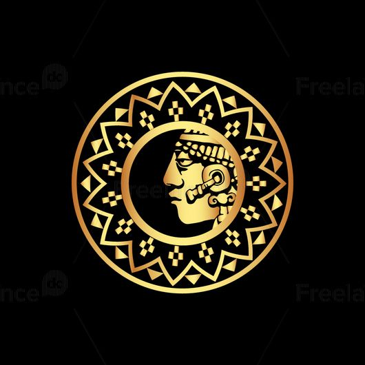 Mayan sun for tattoos. The finished vector graphics.