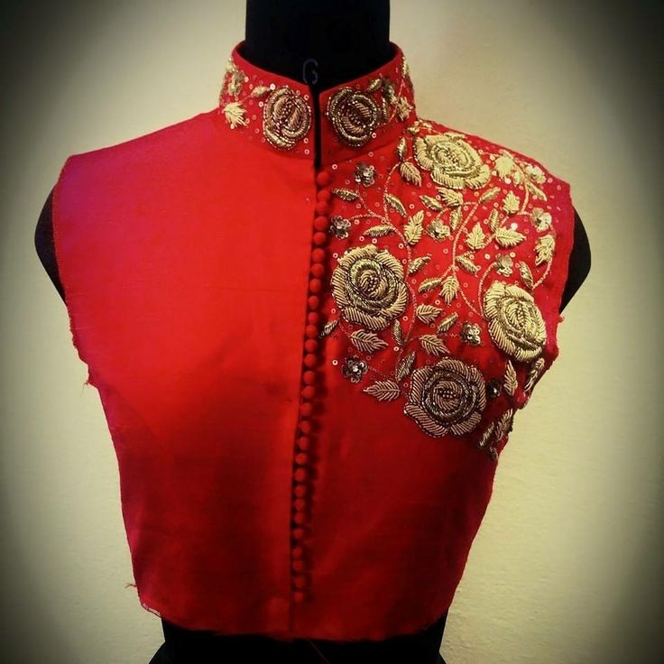 zardozi high neck red silk blouse for party wear saree.. get it stitched at myTailor. in