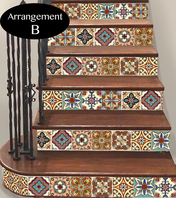 15steps stair riser vinyl strips removable sticker peel stick spanish mexican tr003b. Black Bedroom Furniture Sets. Home Design Ideas
