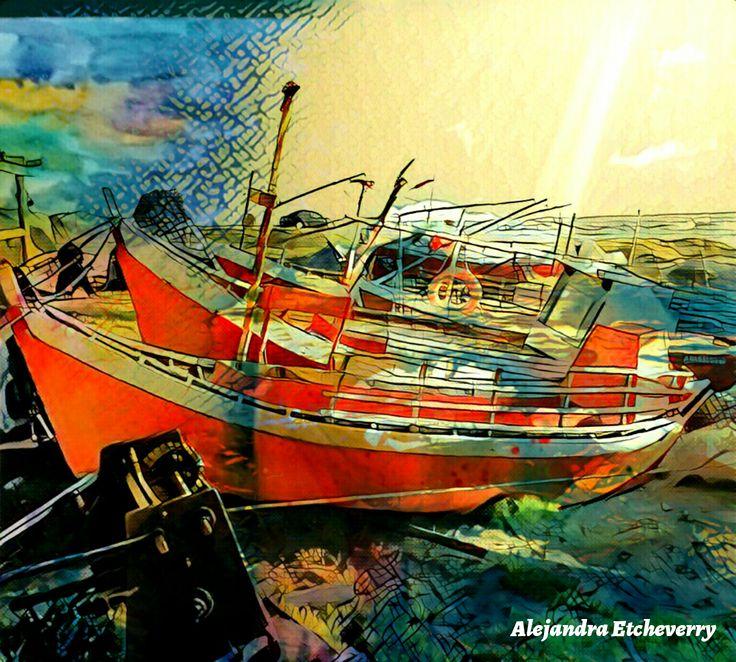 Título: Barcazas en la orilla - Arte Digital - San Luis, Argentina - Autora: Alejandra Etcheverry