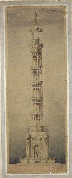 moniledebeaute:  Jules-Désiré Bourdais (1835-1915), Projet de phare monumental pour Paris, élévation (Projet rival de la tour Eiffel), Novembre 1881 - aquarelle, mine de plomb, papier calque -, musée d'Orsay.
