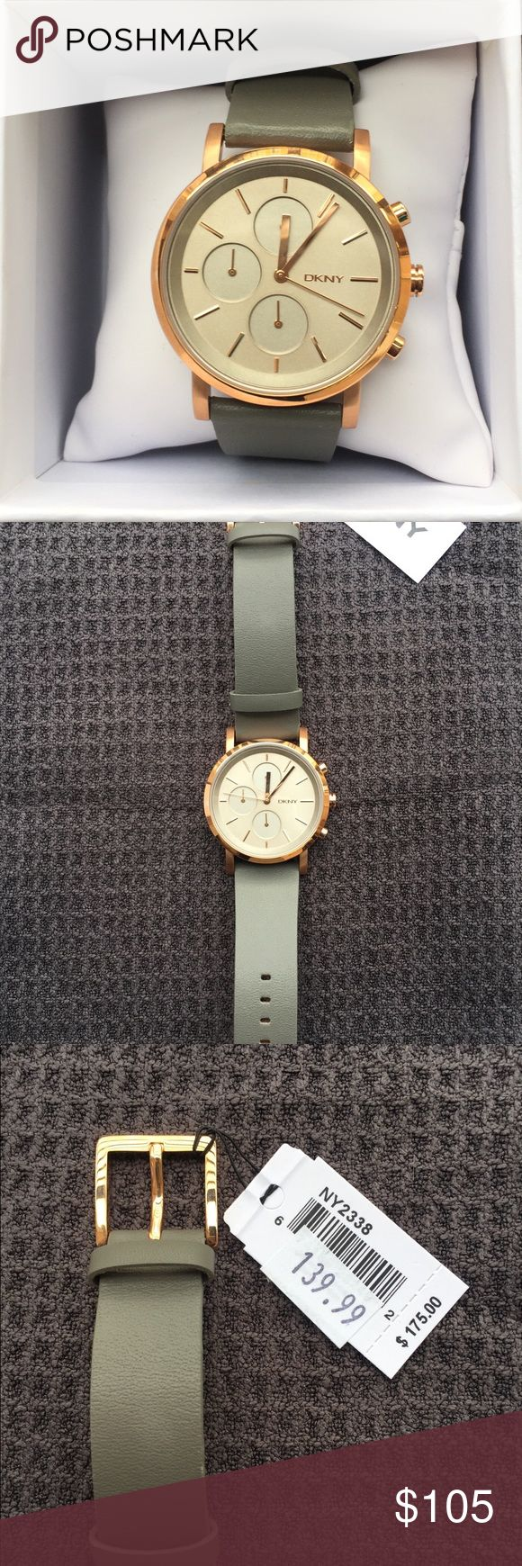 Beautiful DKNY Women's Watch NWT green watch with gold accents. The gold actually looks more rose gold in person! Perfect Christmas gift! Dkny Accessories Watches