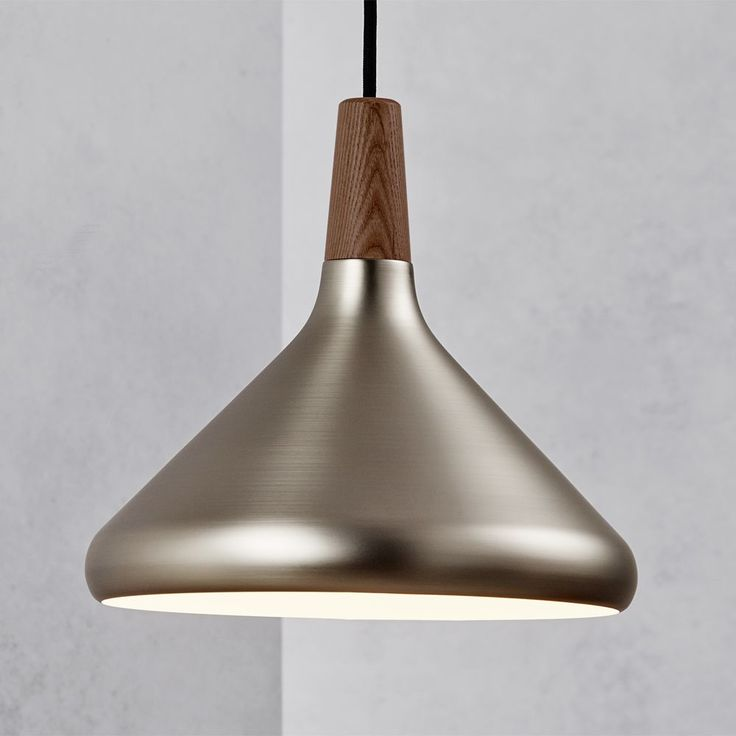Nordlux Float 27 Brushed Steel and Oiled Walnut Pendant