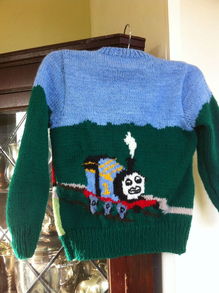 Thomas the tank engine cardigan which I made for my grandson.