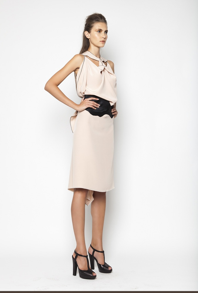 CHRISTOS COSTARELLOS SS12 Silk Crepe De Chine Midi Dress With Handmade Layered Belt