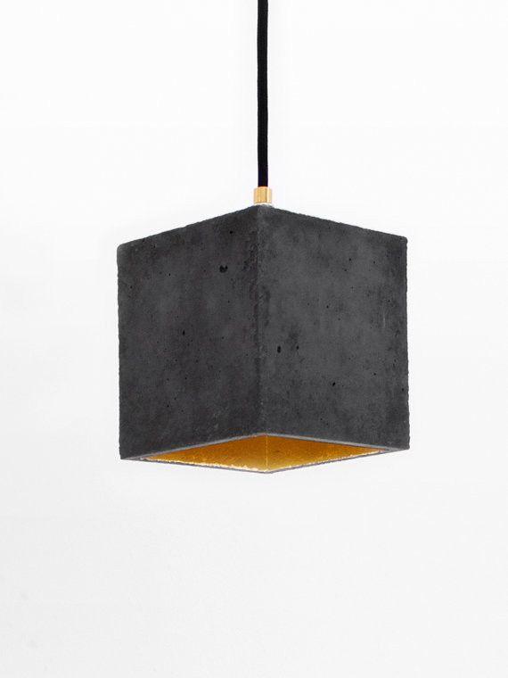 Black Concrete Hanging Light B1