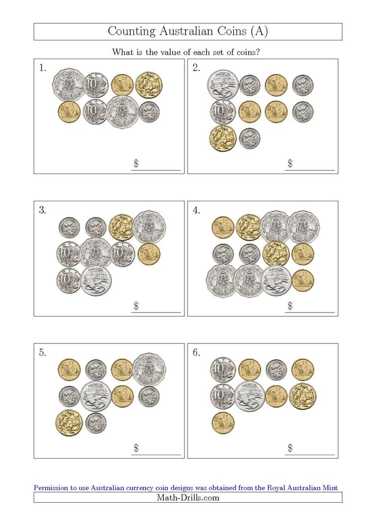 Australian money counting change worksheets