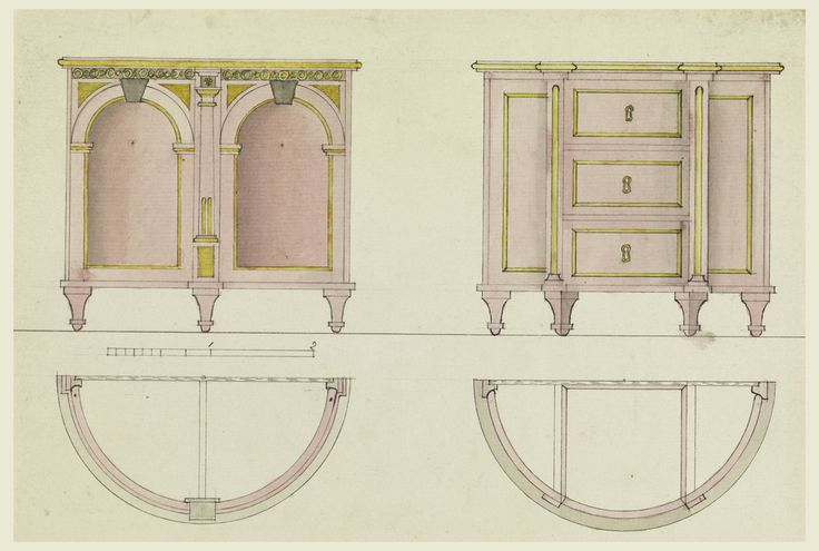 Elevations of two chests. Upper left, a design for a chest with doors; lower left, detail of construction, section through top. At upper right, a design for a chest with three drawers; lower right, detail of construction, section through top.