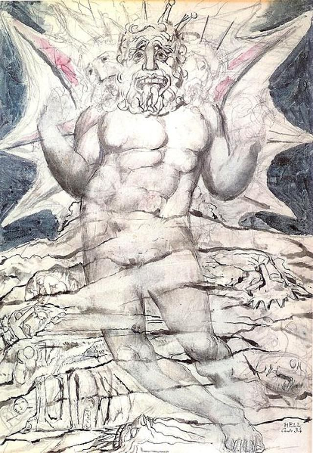 "Meet Archangel Lucifer (Who is Satan?): ""Lucifer"" from William Blake's illustrations for the book <i>The Divine Comedy</i> by Dante Alighieri"
