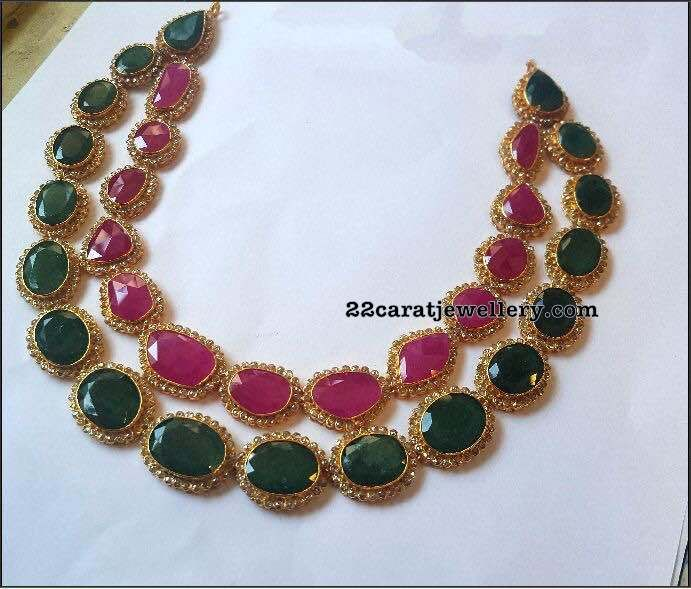 Two Layer Emerald Ruby Choker - Jewellery Designs
