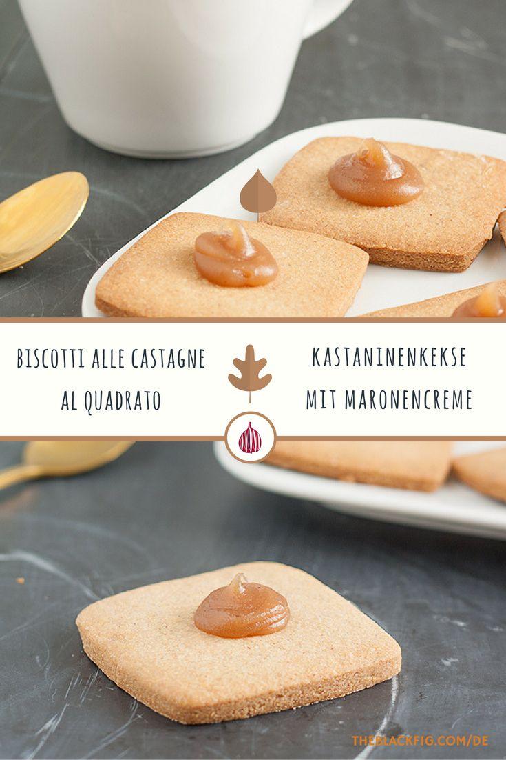 Kastanienkekse mit Maronencreme. //  Biscotti di castagne al quadrato.