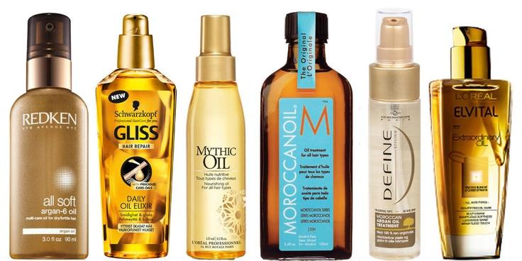 TEST: Redken All Soft, Schwarzkopf Gliss Daily Oil Elixir, Loreal Professionnel Mythic Oil, Moroccan Oil Moroccan Oil Treatment, Define Moroccan Argan Oil Treatment, Loreal Elvital Extraordinary Oil.  FOTO: Produsent