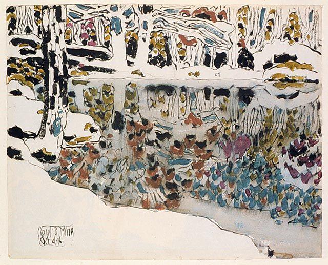 "inkbase: "" Bishop's Pond (Reflections) by David B. Milne. """