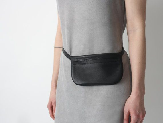 Belt Bag Black Leather, Flat Bum Bag, Hip Bag, Fanny Pack, Festival Bag,