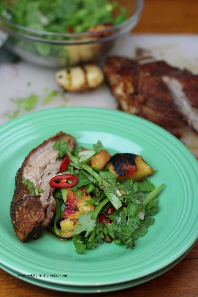 Crisp Pork belly with grilled peach salad and Nuoc Cham