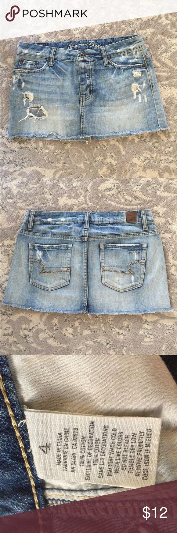 American eagle distressed skirt American eagle distressed Jean skirt. Size 4. American Eagle Outfitters Skirts Mini