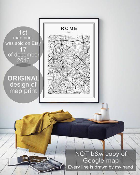 Rome Map Print Rome Map Rome Map Poster Rome Print Rome