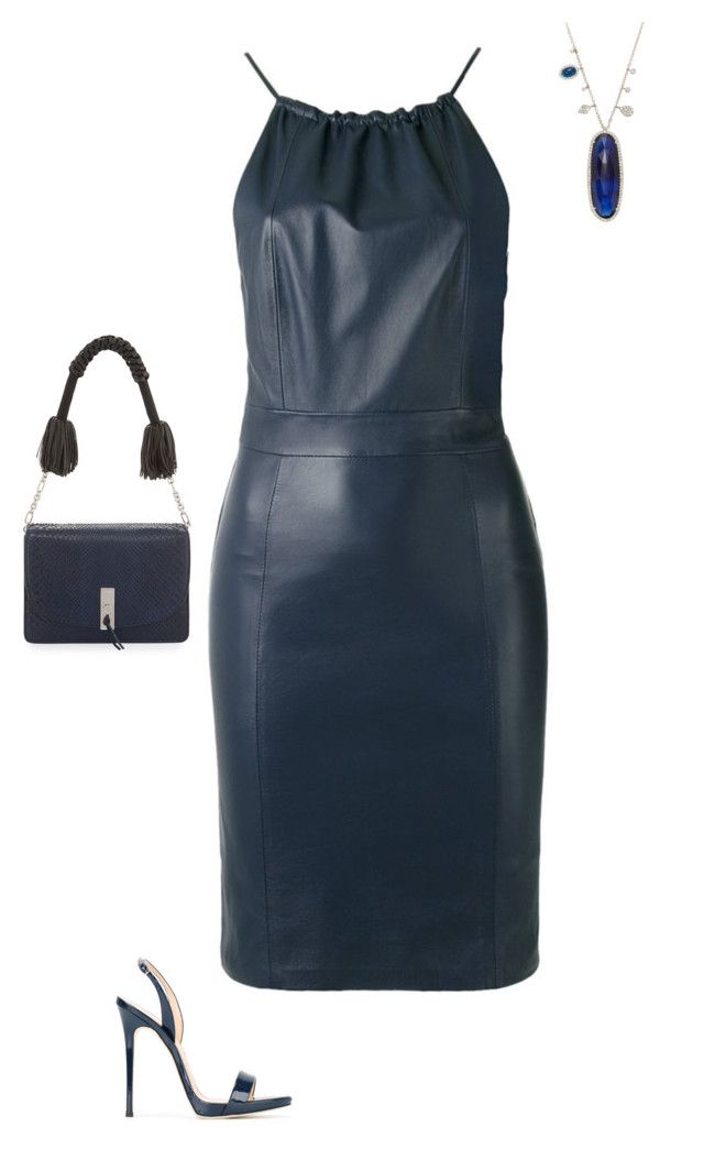 """""""SS N LEATHER DRESS, SANDALS - NAVY BLUE"""" by laliquemurano on Polyvore featuring Giuseppe Zanotti, EGREY and Altuzarra"""