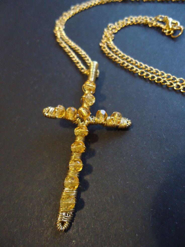 Gold glass bead cross