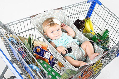 Binxy Baby Shopping Cart Hammock (Gray and Aqua Quatrefoi...
