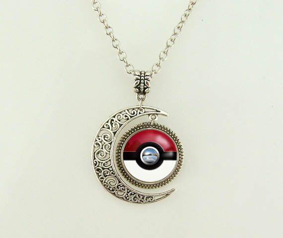 pokemon pokeball Necklace, poke ball necklace, moon necklace, pokemon Jewelry, Minimalist Pendant, Friendship on Etsy, $4.99